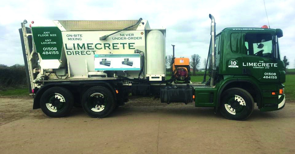 Limecrete mixing truck